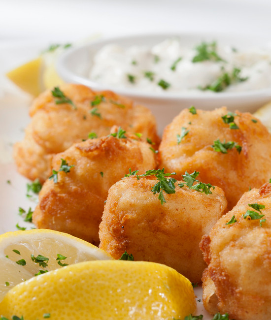 Deep Fried Sea Scallops with French Fries, Tartar Sauce and Lemon